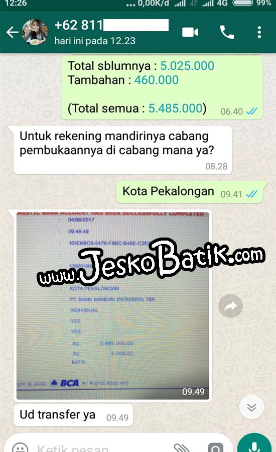 konfirmasi order batik