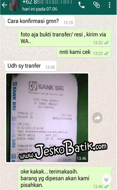 konfirmasi trasnfer rekening