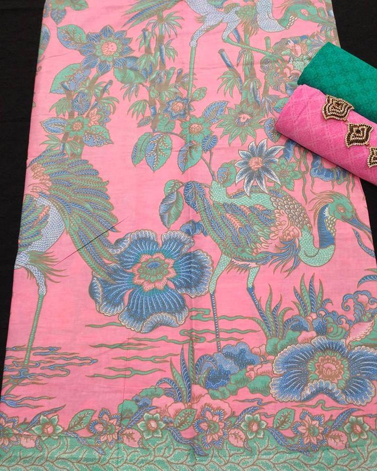 kain batik soft pastel kombinasi embos