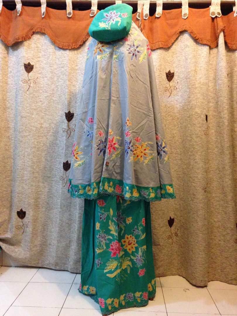 mukena batik cap motif encim kombinasi bordir