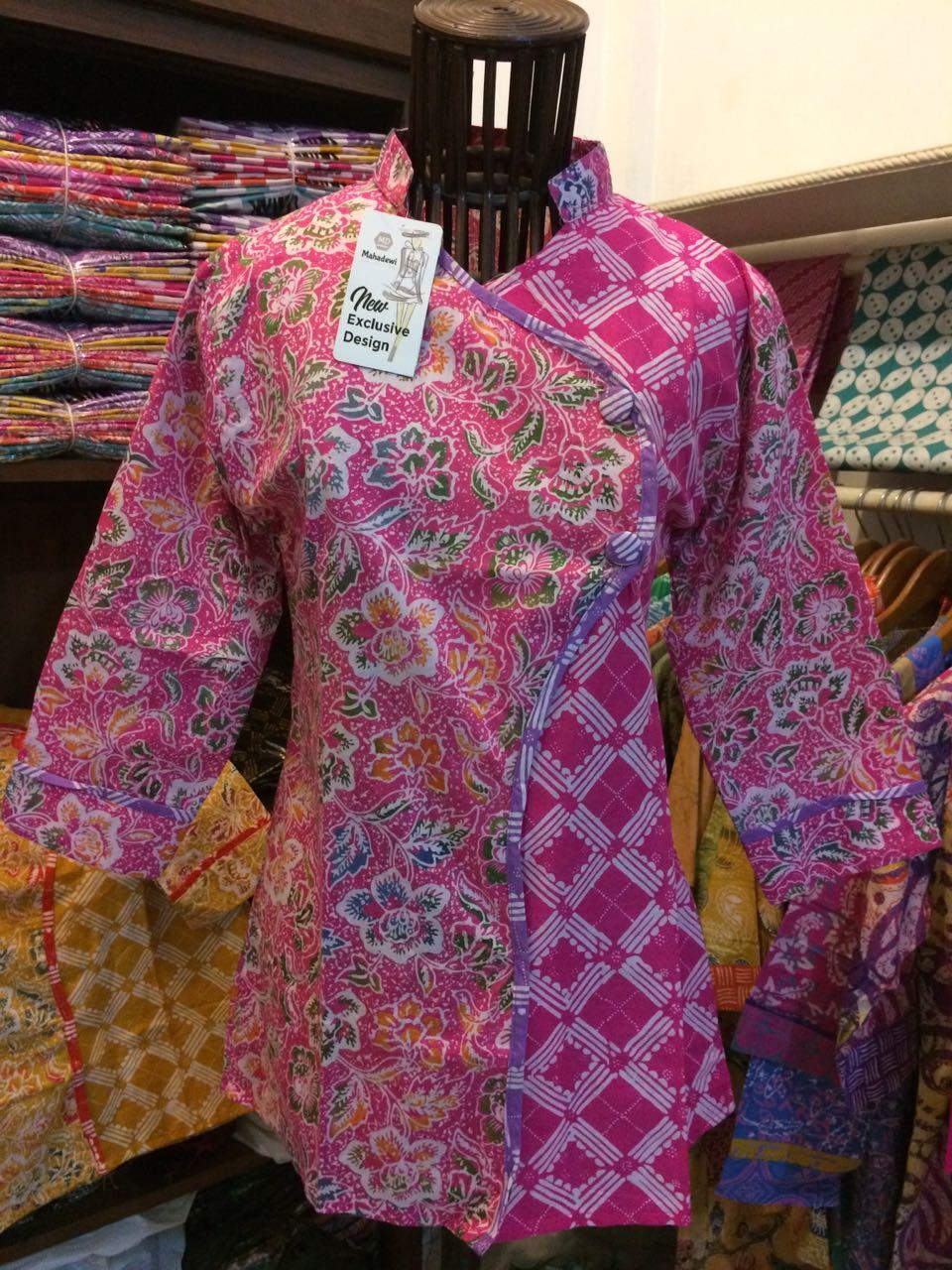blus batik wanita warna pink