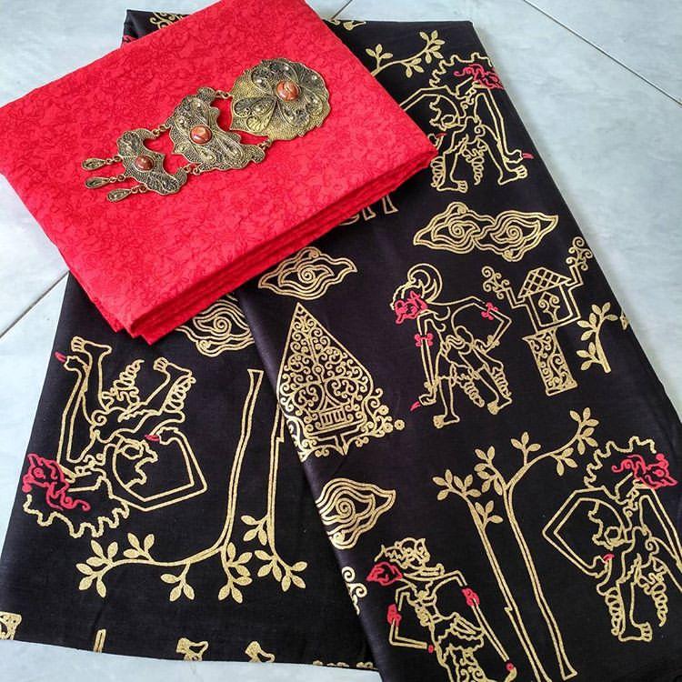 kain batik prada etnic motif wayang