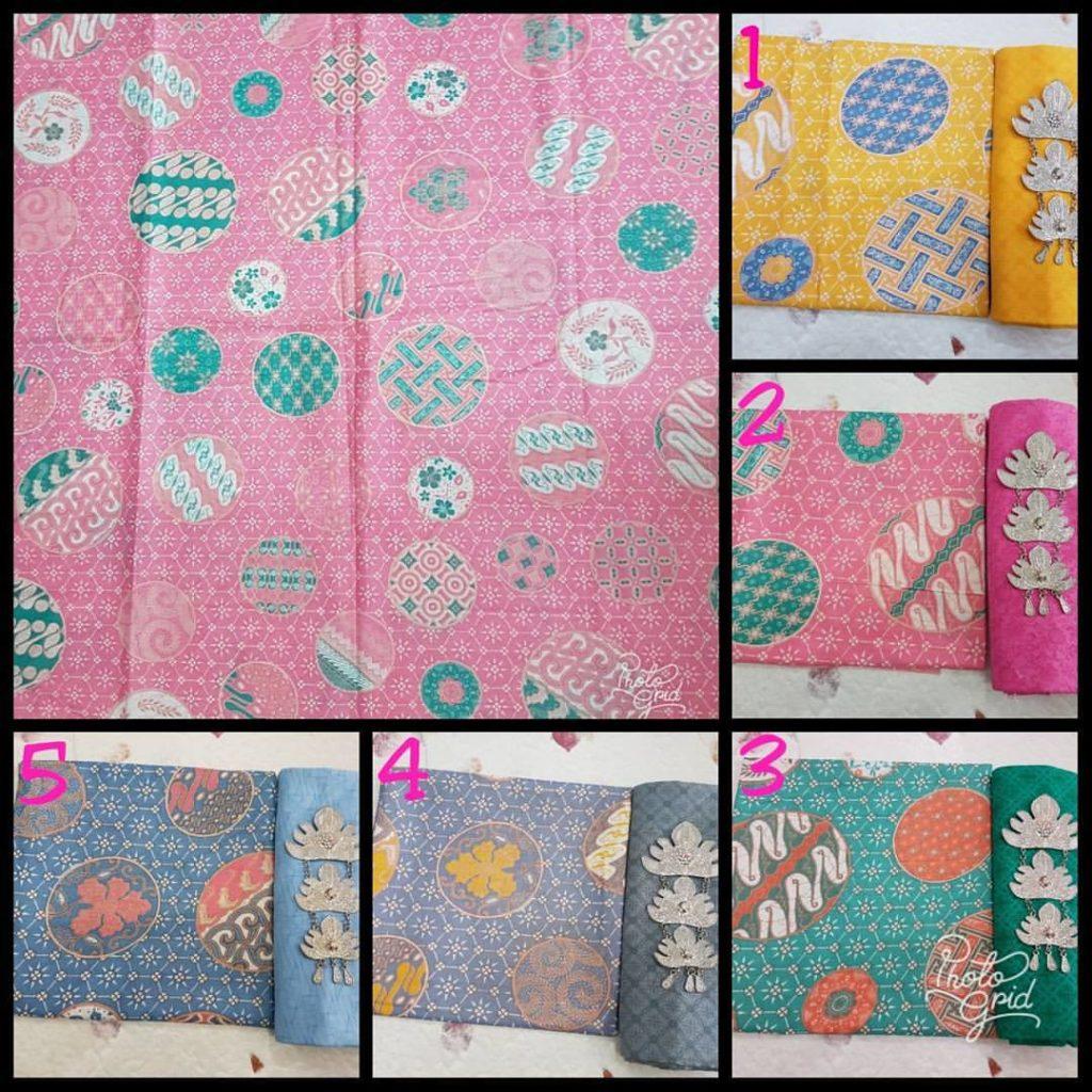 Kain Batik Pekalongan – Batik Printing Soft Pastel Motif Piring Selampad – KPS-2