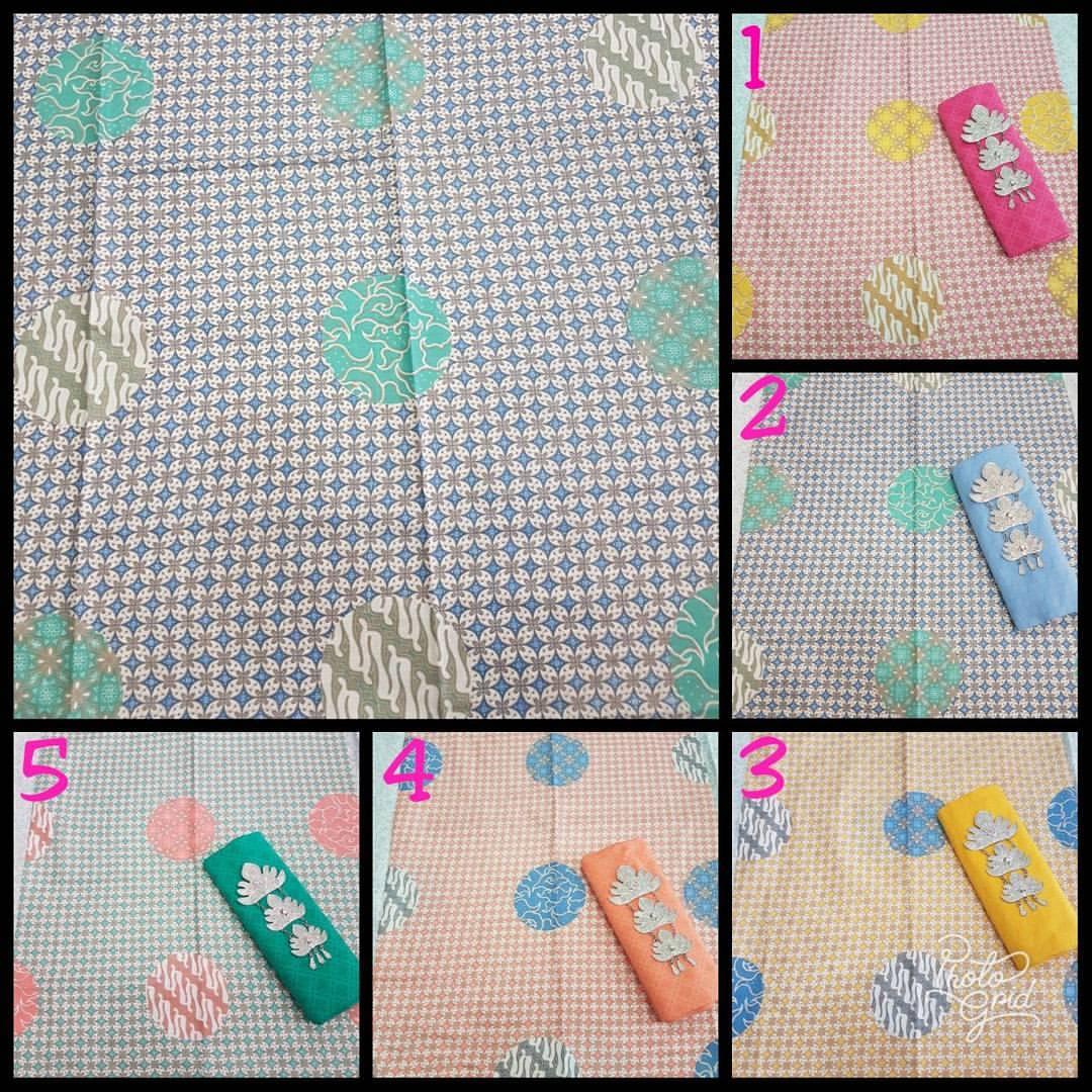 kain batik warna soft pastel motif piring selampat