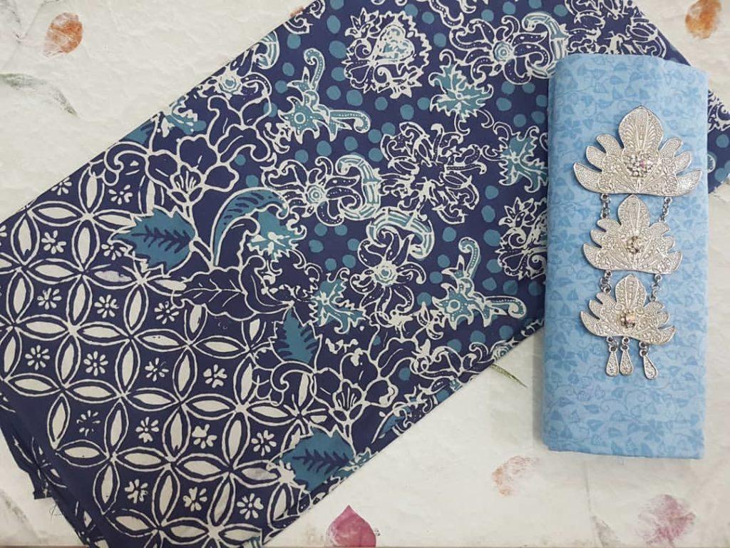 Galeri Lengkap Kain Batik Cap Pekalongan Nuansa Warna Biru