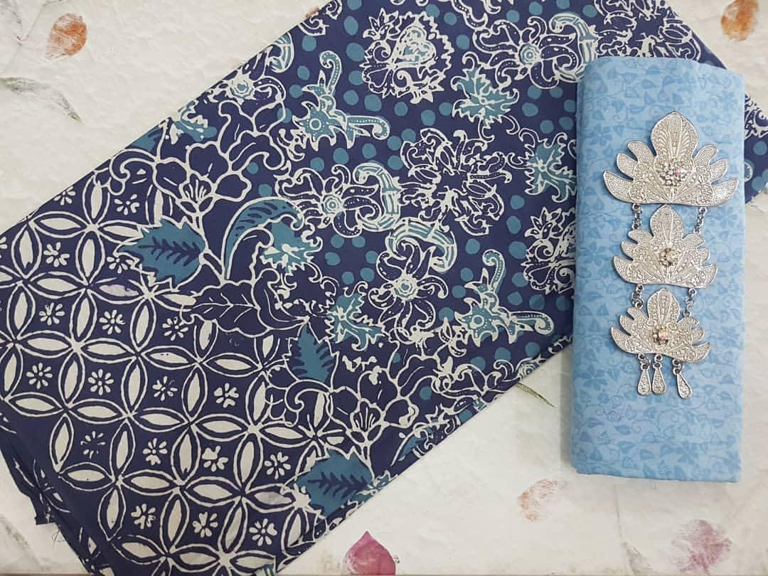 kain batik cap motif kawung kombinasi