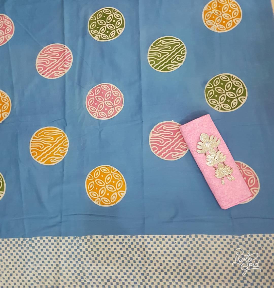 batik cap katun motif piring selampad