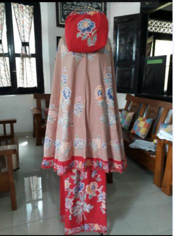 mukena batik cap kombinasi bordir halus