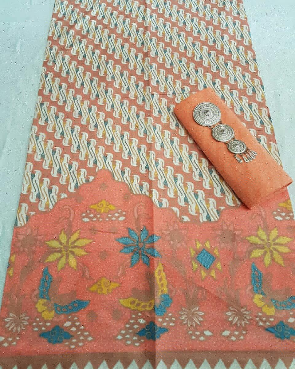 kain batik print warna soft pastel kombinasi embos warna orange