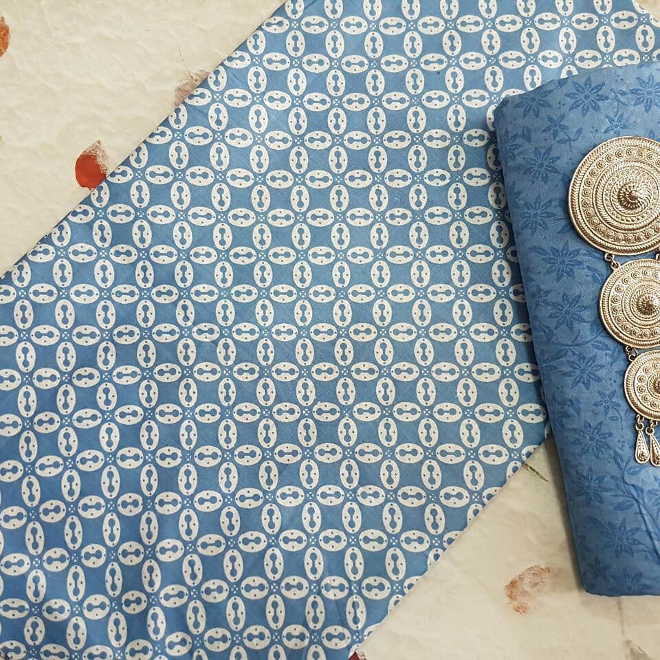 kain batik motif kawung warna soft kombinasi embos warna biru