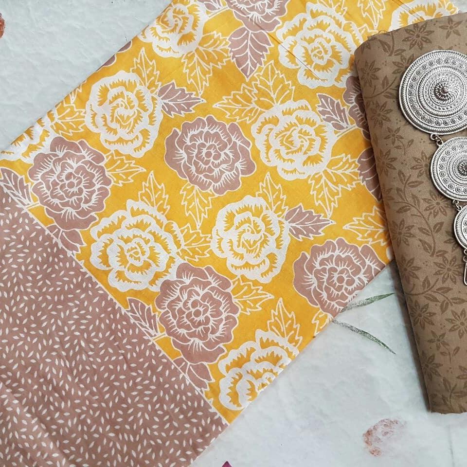 Kain Batik Pekalongan – Batik Printing Motif Bunga Warna Soft Kombinasi Embos – 2018-P2.2