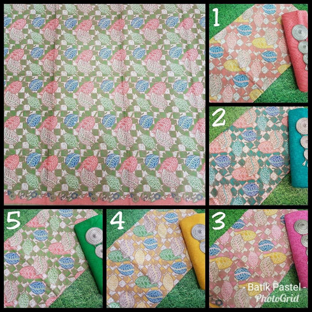 pilihan kain batik katun warna soft motif daun