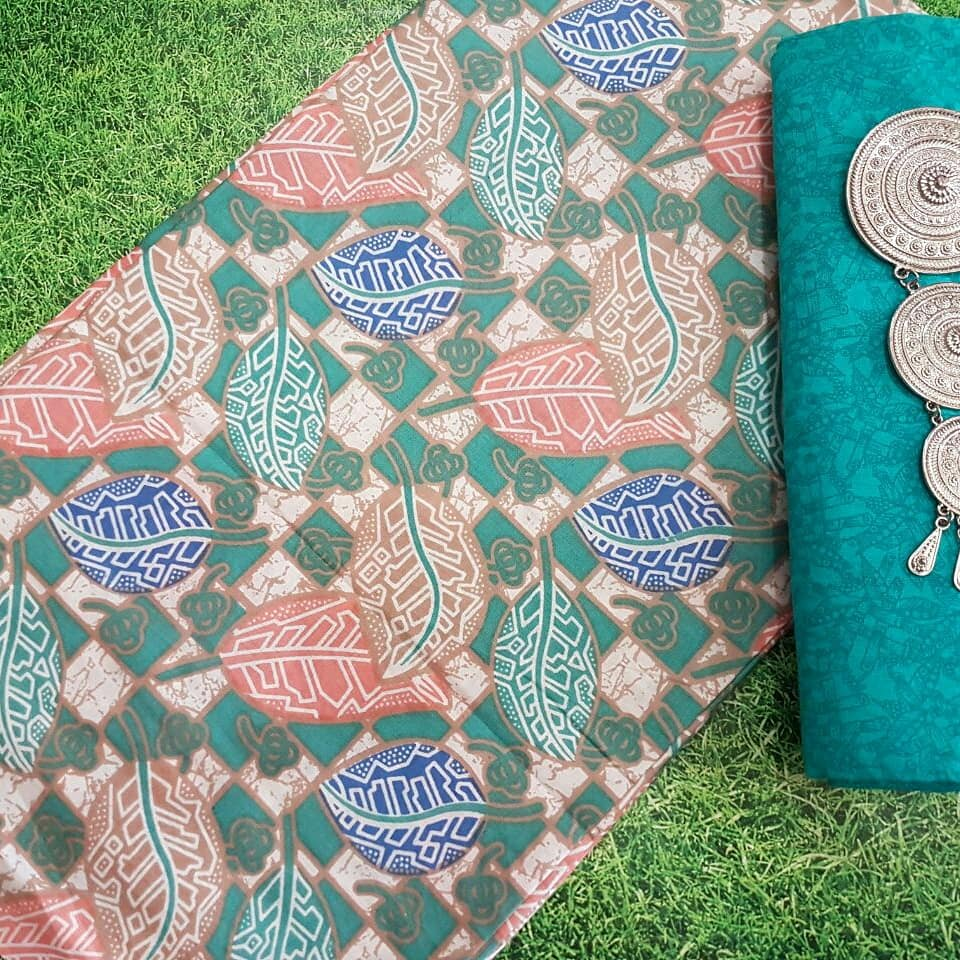 jual kain batik katun warna soft motif daun  kombinasi embos