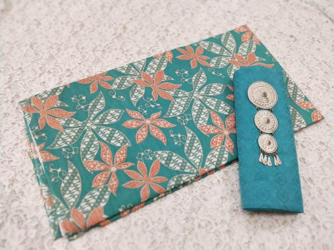 kain batik pekalongan warna hijau tosca bahan katun halus