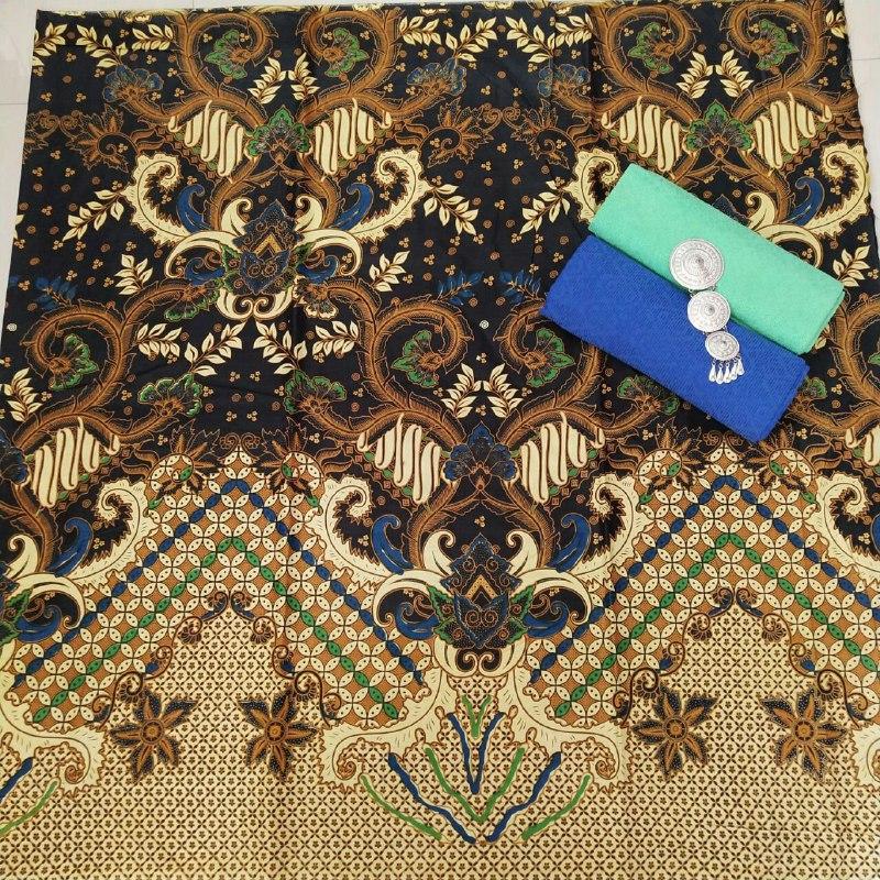 kain batik untuk kemeja warna coklat kombinasi hitam