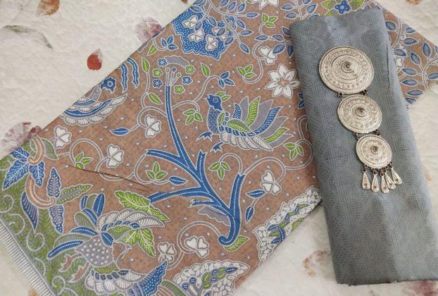 kain batik soft pastel warna coklat
