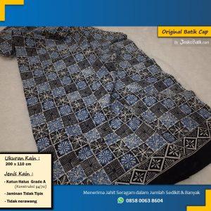 kain batik cap katun warna biru motif kotak bulat kecil