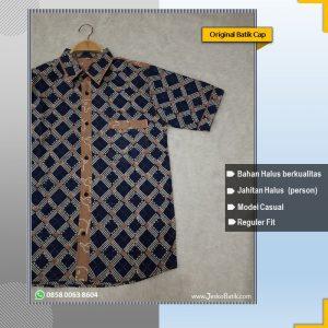 baju batik pria model casual kombinasi