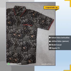 baju batik pria motif sekar jagad hitam