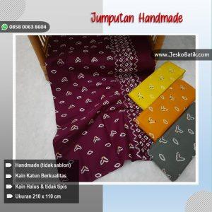 kain batik cap motif jumputan warna ungu