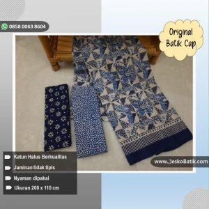 kain batik cap warna putih biru kombinasi