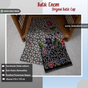 kain batik encim motif kawung bunga