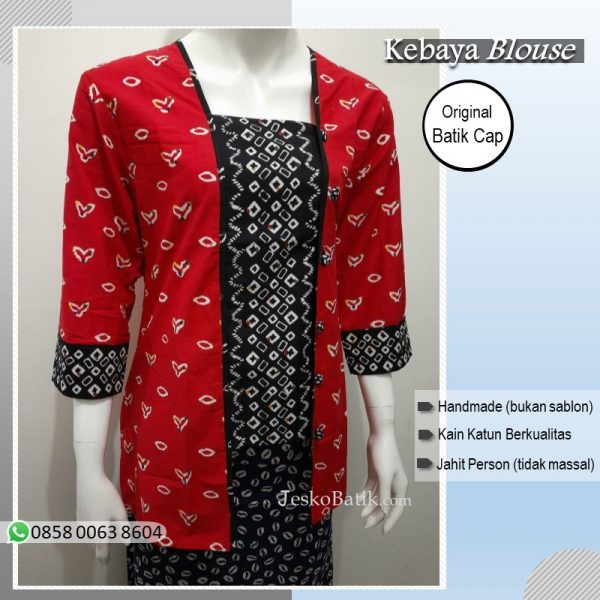 blouse batik jumputan merah hitam model kebaya