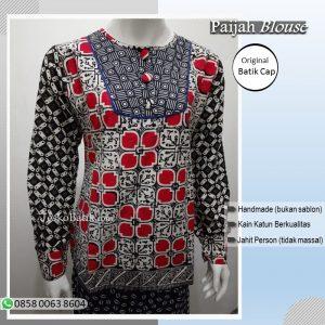 Blouse batik cap halus kombinasi