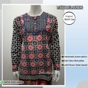 blouse batik cap wanita lengan panjang