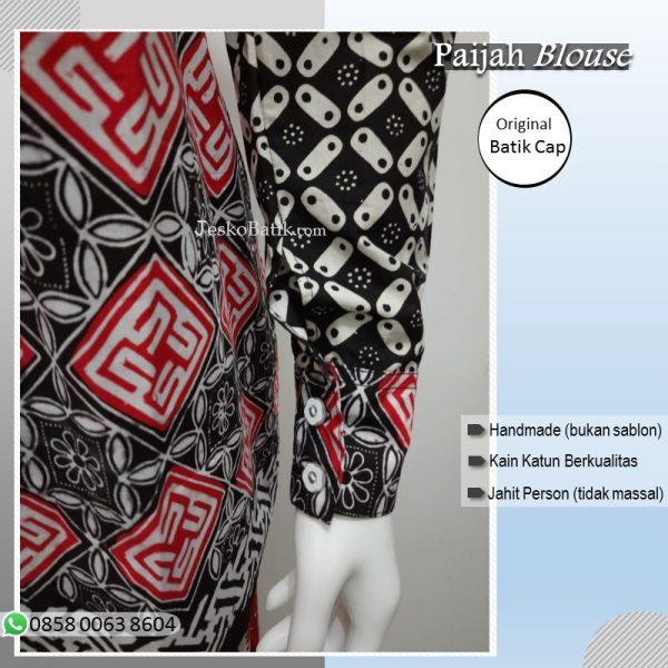blouse batik cap wanita lengan panjang kancing bungkus