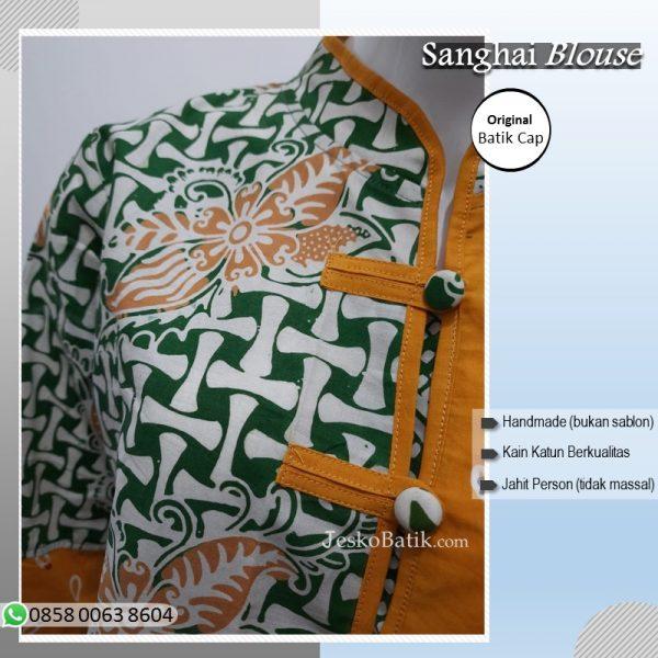 Blouse batik cap halus model warna hijau