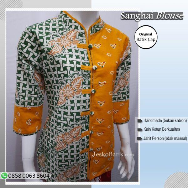 Blouse batik model sanghai warna hijau kuning