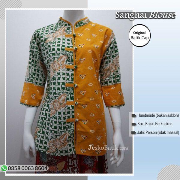 baju batik wanita motif jumputan model sanghai