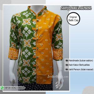 blouse batik wanita motif jumputan kombinasi