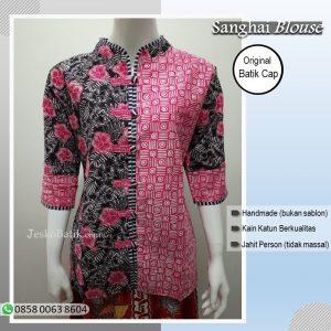 baju batik wanita kombinasi warna pink