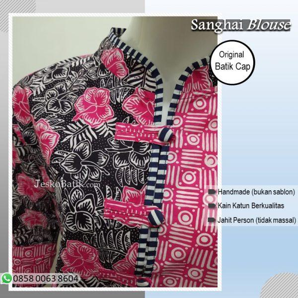 blouse batik wanita motif bunga warna pink