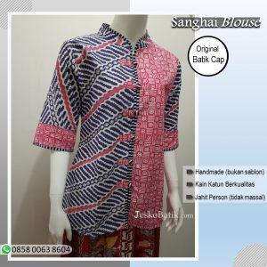 baju batik wanita motif parang warna pink