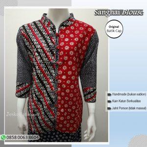 blouse batik cap motif parang kombinasi truntum