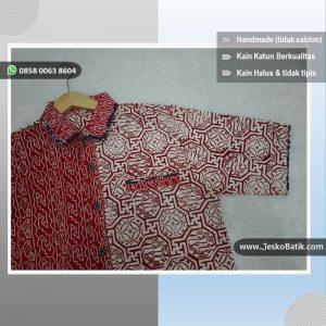 baju hem batik pria merah putih